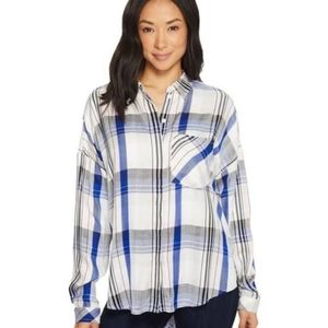 Sanctuary Stargazer plaid button up shirt NWT L